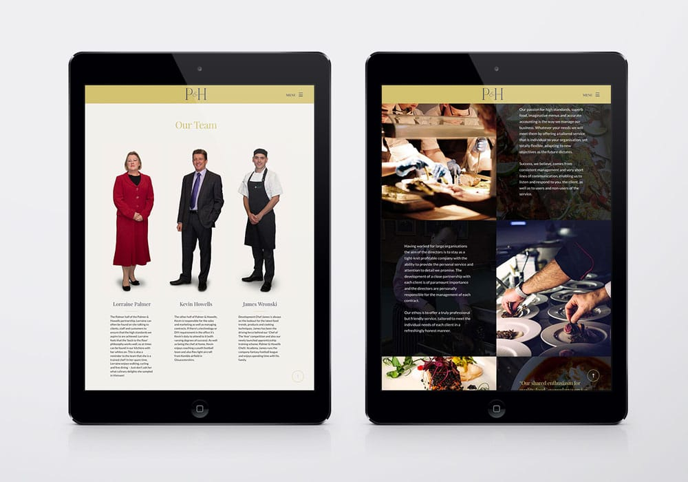 P&H branding - Website iPad mock up